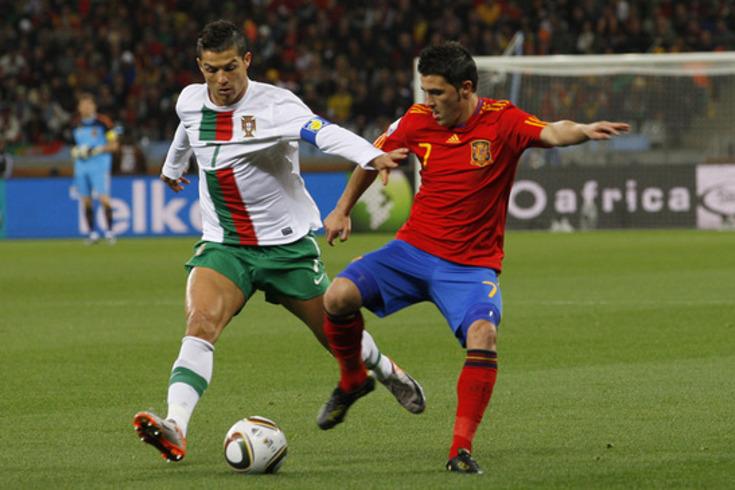 Villa contra Ronaldo, no Mundial que conquistou na África do Sul, em 2010