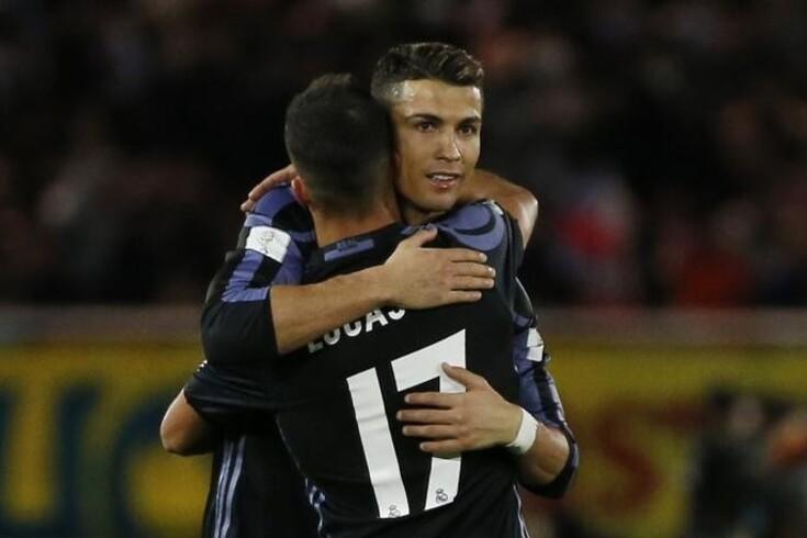 Ronaldo e Lucas Vázquez em 2016 ao serviço do Real Madrid.