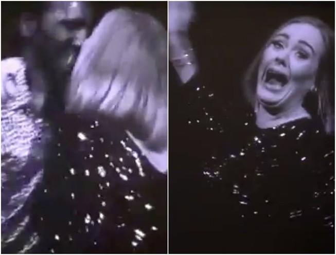 Adele e fã se beijam na boca por acidente durante show