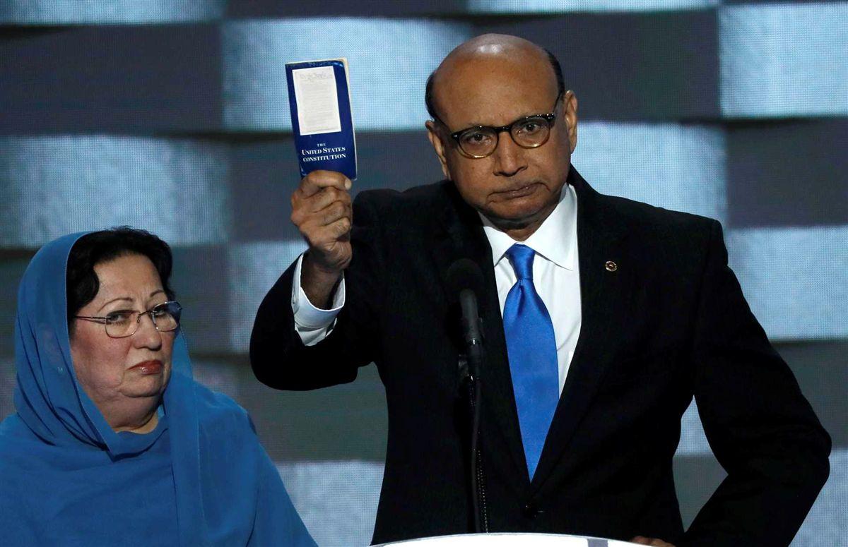 Trump ironiza com silêncio da mãe de soldado muçulmano morto no Iraque Ng7395810