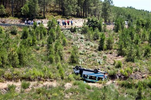 Um morto e oito feridos graves em despiste de autocarro