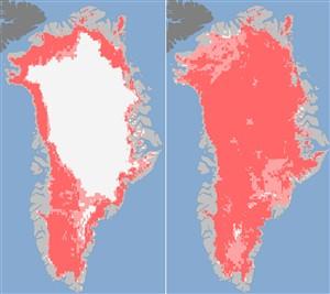 Derreteu 97% da superfície da camada de gelo na Gronelândia em apenas 5 dias