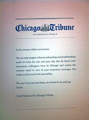 Chicago Tribune oferece pizzas à redação do jornal Boston Globe