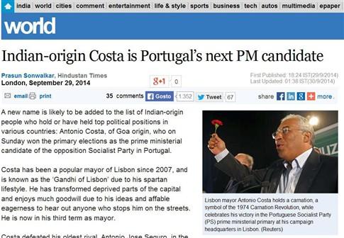 """Jornal indiano chama """"Gandhi de Lisboa"""" a António Costa"""