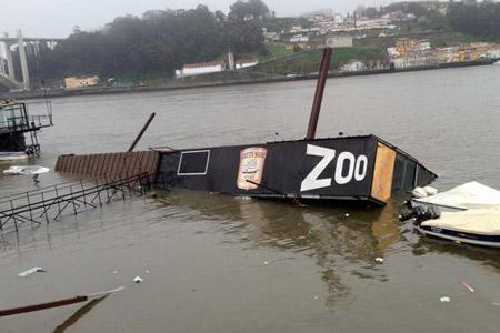 Tronco de madeira afunda bar flutuante no Douro