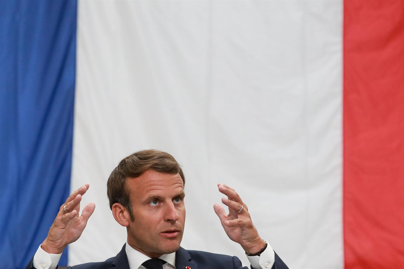 Macron in one of his interventions during the coronavirus pandemic.