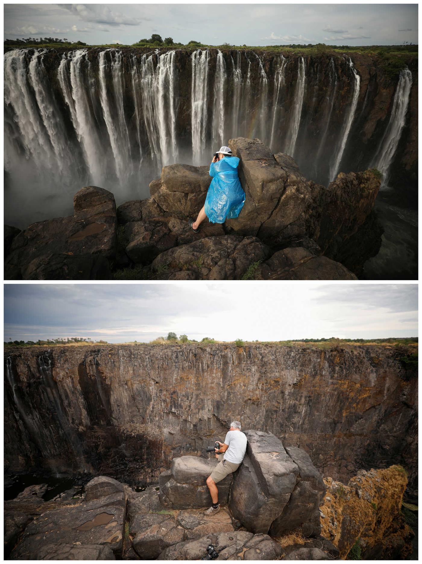 O antes e o depois - na estação seca as cataratas ficam quase sem água. Este ano o fenómeno atingiu proporções