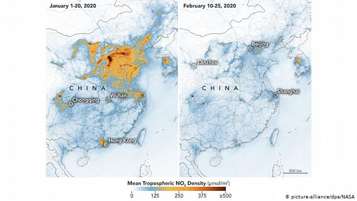 A NASA e os satélites da ESA detetaram reduções significativas no dióxido de azoto (NO2) sobre a China.