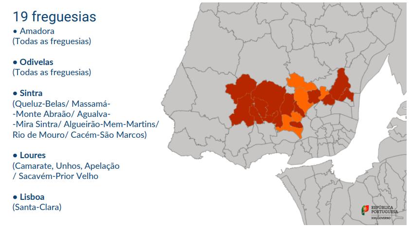 As 19 freguesias da AML mais atingidas pela pandemia