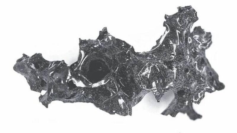 O material preto que os investigadores acreditam ser restos do cérebro humano vitrificado