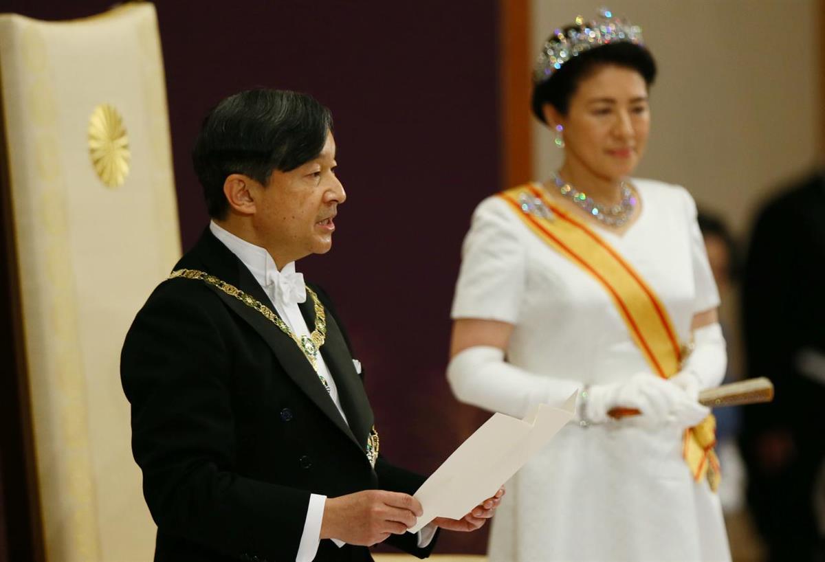 O imperador Naruhito e a imperatriz Masako