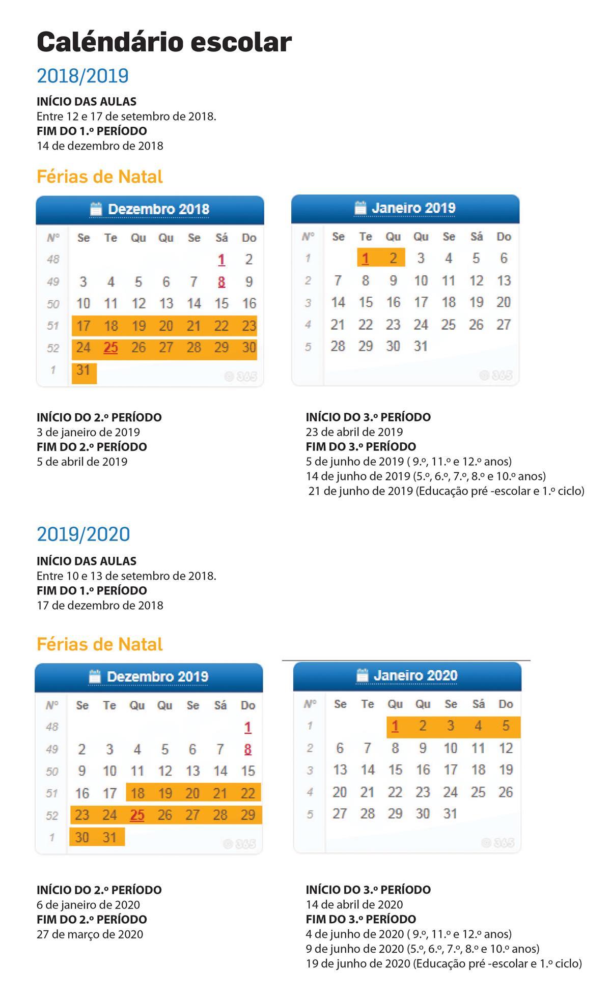 Calendario Dezembro 2019 Janeiro 2020.Calendario Escolar 2019 2020 Mais Um Dia De Ferias No Natal