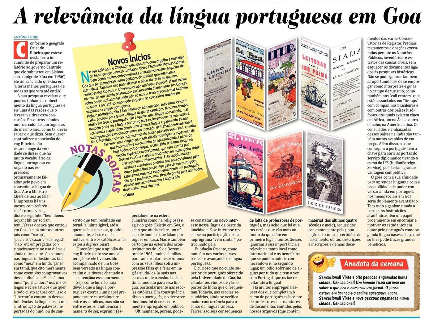 E se um jornal de Goa voltar a escrever em português? Aconteceu