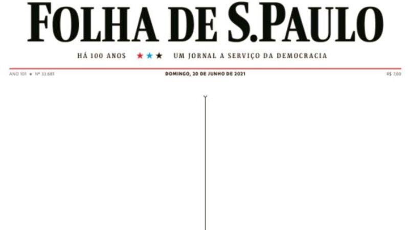 """A capa da edição de domingo da """"Folha de S. Paulo"""" que assinalou as 500 mil mortes no Brasil devido à"""