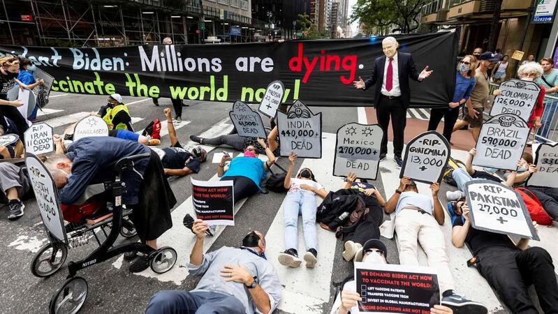 A par da Assembleia-Geral da ONU Nova Iorque é esta semana palco de muitos protestos, aqui contra a falta