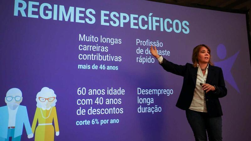 Conferência de imprensa da coordenadora do Bloco de Esquerda, Catarina Martins, sobre reformas, no âmbito