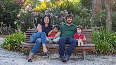 Joana Dourado, Vasco Nogueira e os seus dois filhos.