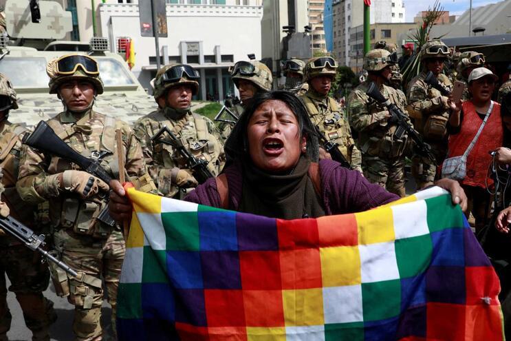 Manifestação de apoio a Evo Morales, na Bolívia