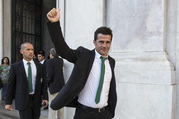Marco Silva nos festejos da Taça de Portugal