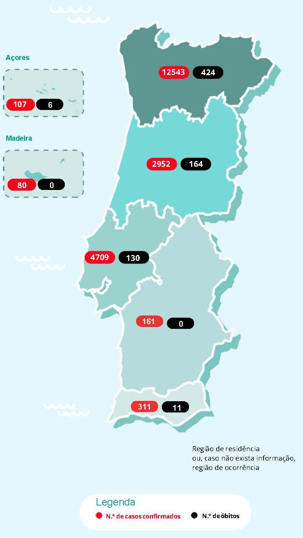 Mapa dos casos e dos óbitos em Portugal