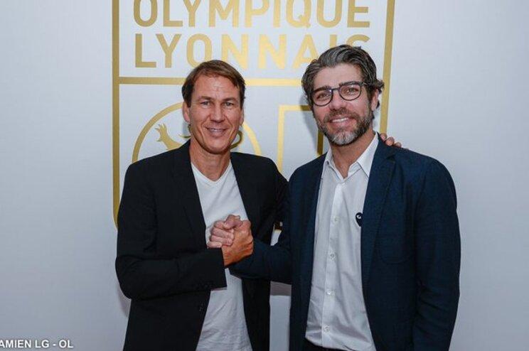 Rudi Garcia com Juninho, o diretor desportivo do Lyon