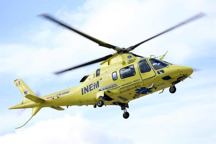 A vítima grave foi transportada de helicóptero para o hospital