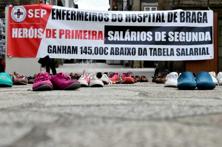Protesto dos enfermeiros, em Braga, a 12 de maio