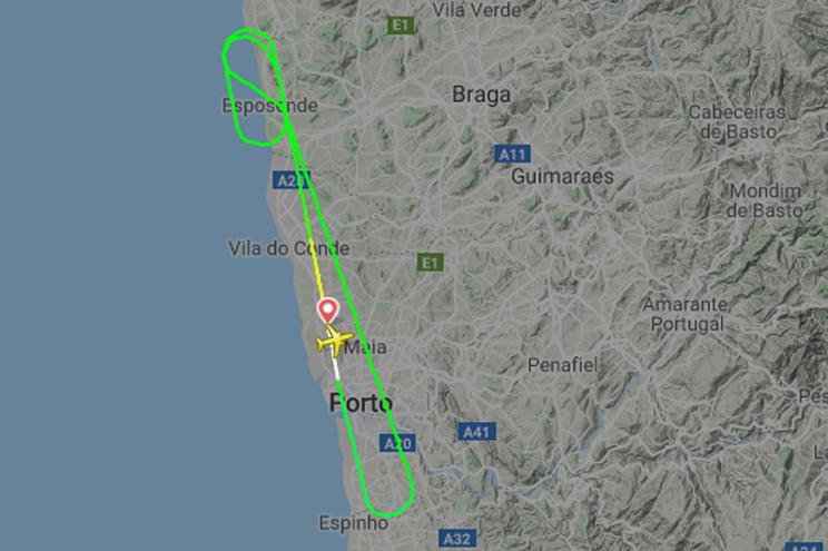 Percurso do voo registado no site FlighRadar 24