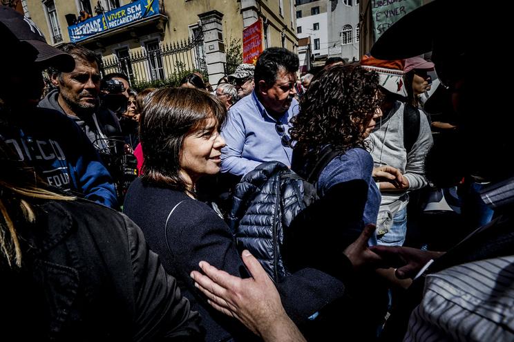 Catarina Martins, do BE, na manifestação da CGTP em Lisboa