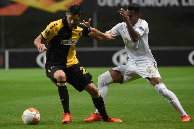 Galeno marcou o golo que dá vantagem ao Braga sobre o AEK