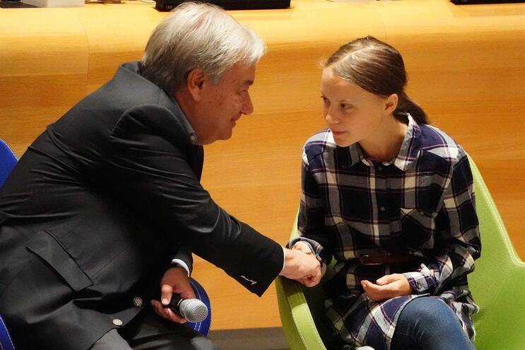 António Guterres e Greta Thunberg
