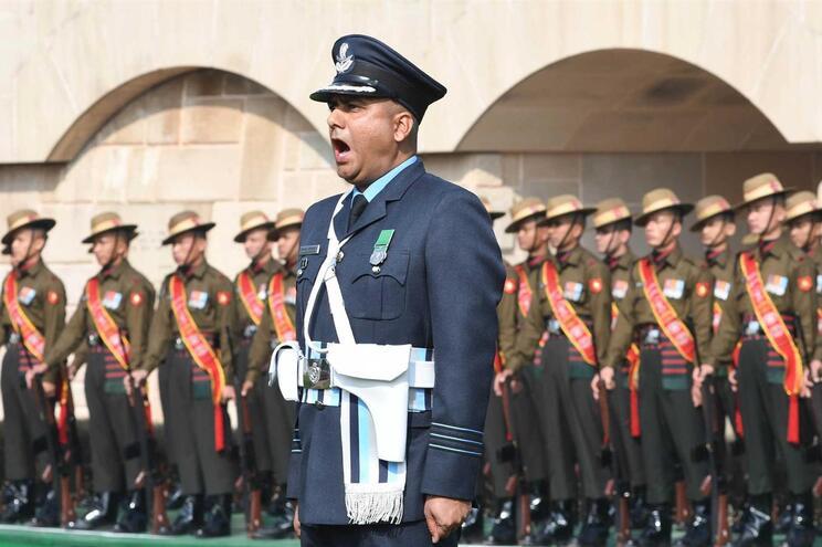 As forças militares indianas durante uma cerimónia em Nova Deli, em janeiro