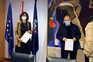 A presidente do Conselho Superior dos Desportos, Irene Lozano acompanhada pelo presidente da Liga Espanhola
