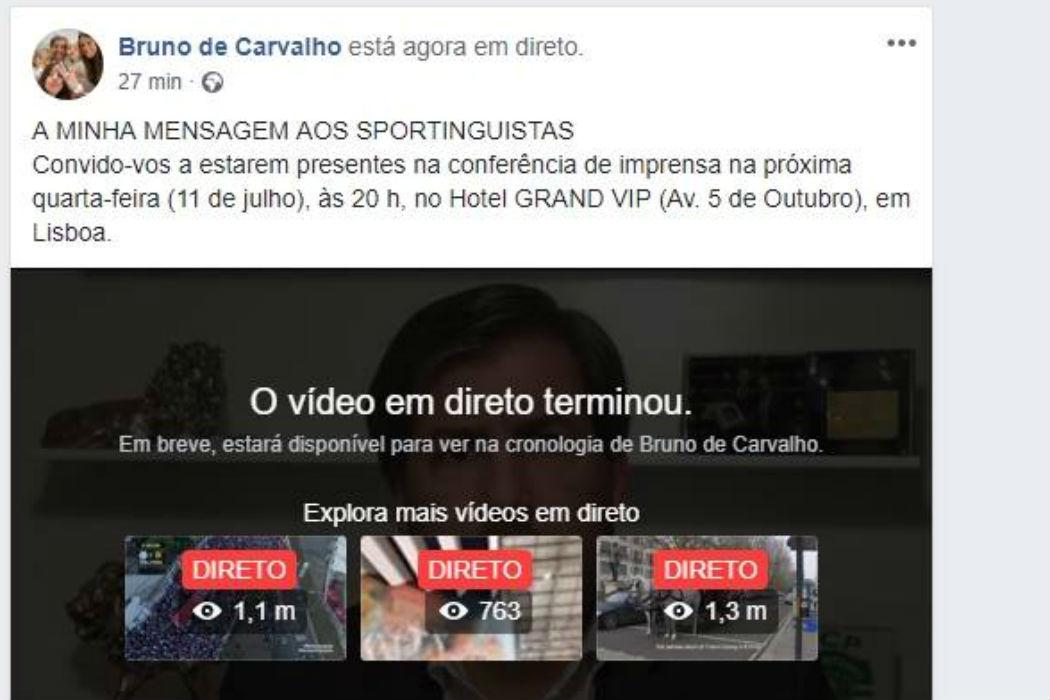 Bruno de Carvalho anuncia candidatura à presidência do Sporting em direto no Facebook