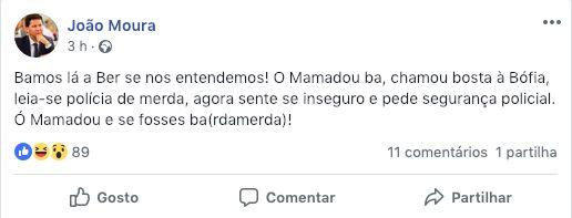 A publicação, entretanto apagada, no Facebook de João Moura