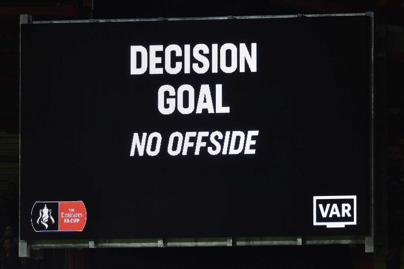 VAR cancels an offside goal in a FA Cup game