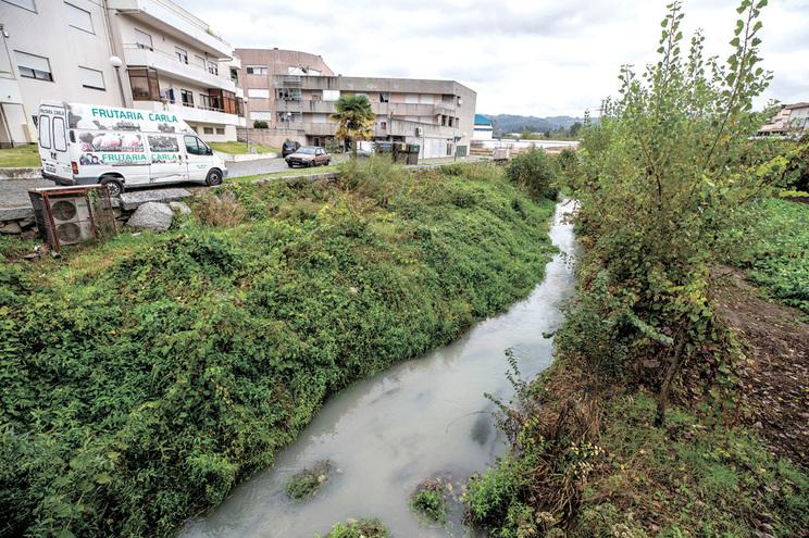 Grande descarga poluente no rio Selho, afluente do rio Ave