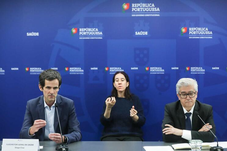 O subdiretor-geral da Saúde, Diogo Cruz, e o secretário de Estado da Saúde, António Lacerda Sales