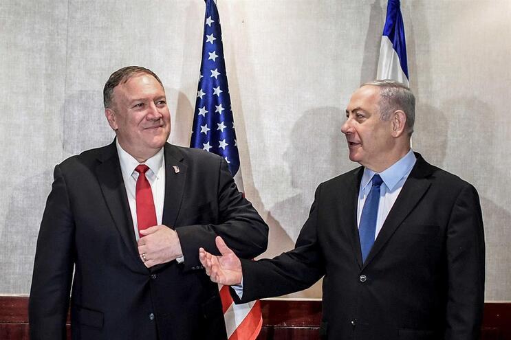 Mike Pompeo e Benjamin Netanyahu em Lisboa
