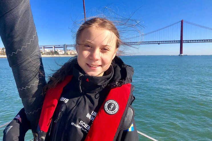 Greta Thunberg, na chegada a Lisboa