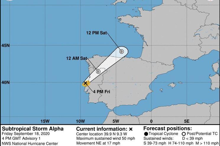 O ciclone vai sentir-se sobretudo nos distritos de Leiria e Coimbra às primeiras horas da noite