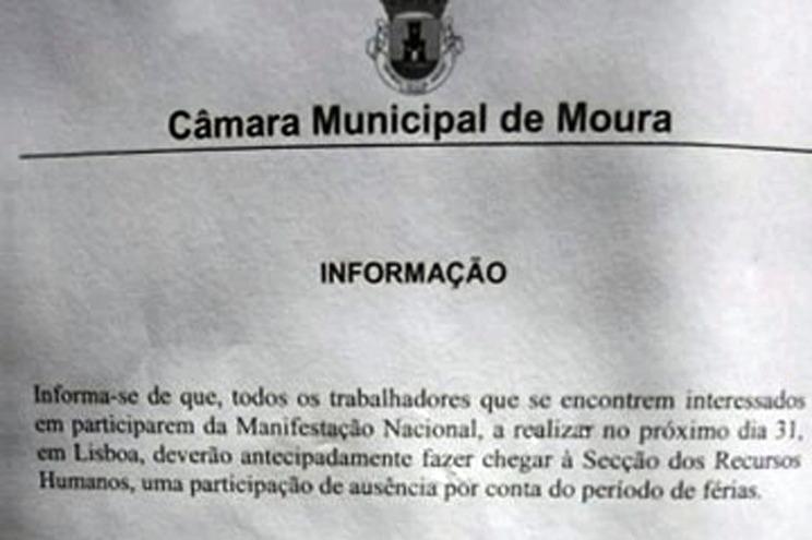Informação transmitida aos funcionários da Câmara de Moura