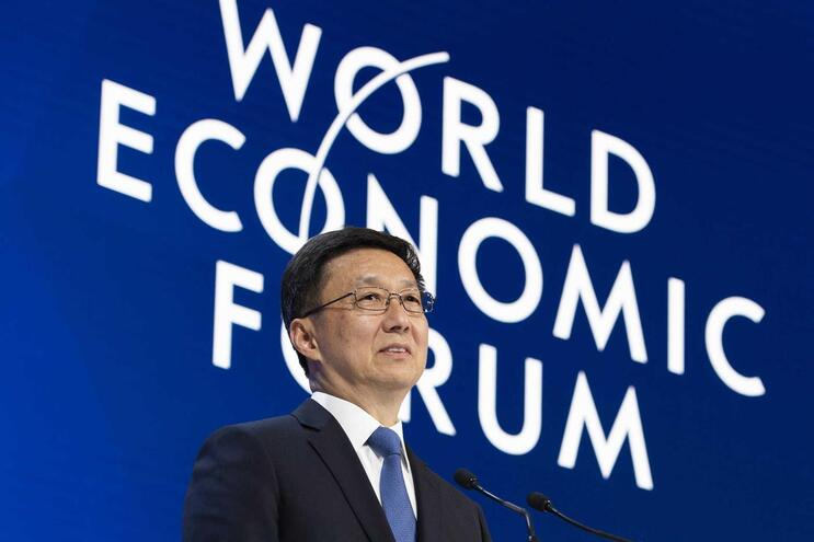 O vice-primeiro-ministro chinês, Han Zheng, falou esta terça-feira no Fórum de Davos, na Suíça