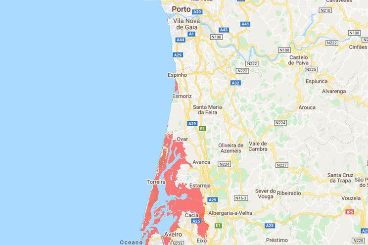 As zonas de Portugal ameaçadas pela subida dos oceanos até 2050
