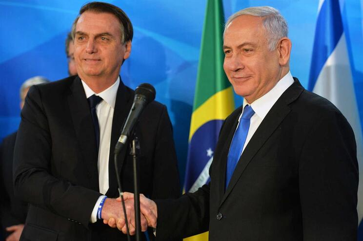 O presidente do Brasil, Jair Bolsonaro, e o primeiro-ministro de Israel, Benjamin Netanyahu