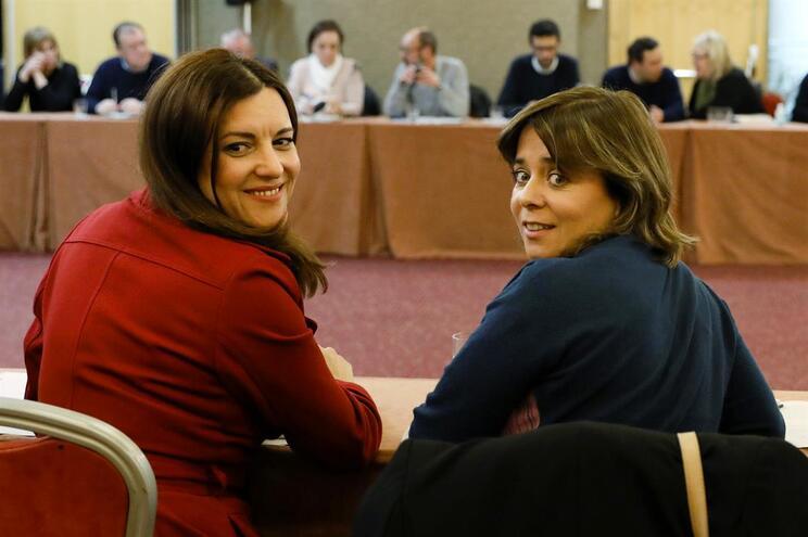 Marisa Matias, cabeça de lista do BE às Eleições Europeias, ao lado da coordenadora do partido, Catarina