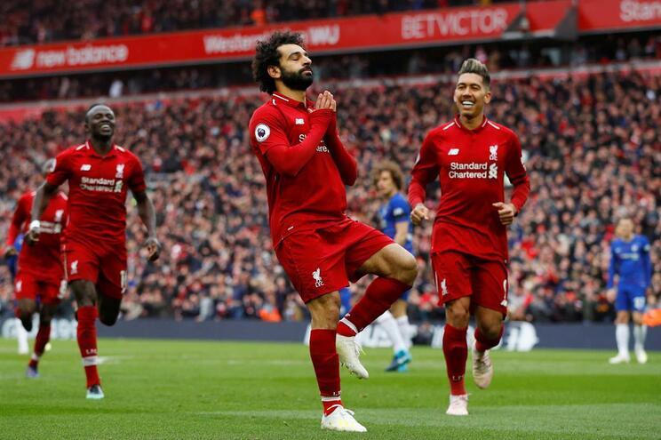 O golaço de Salah frente ao Chelsea