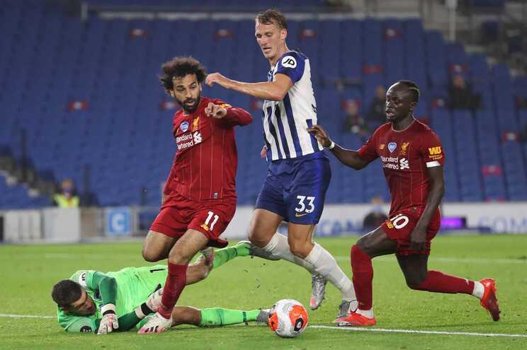 Salah marcou dois golos ao Brighton
