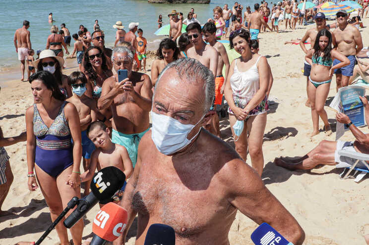 O Presidente da Republica, Marcelo Rebelo de Sousa, na praia do Alvor