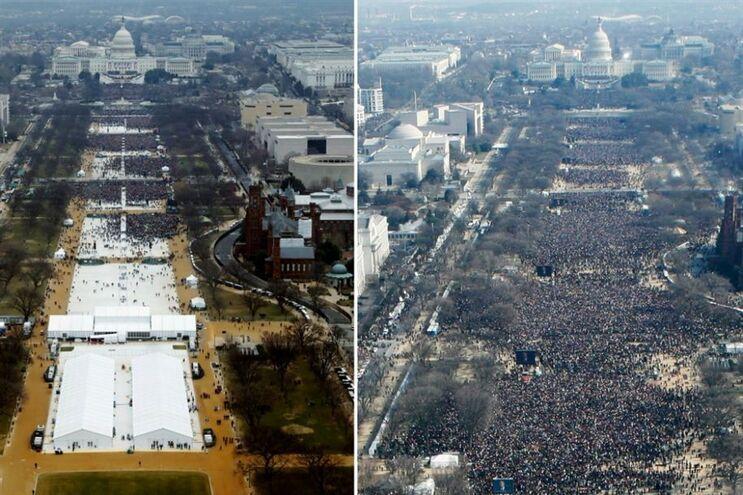 Imagens que mostram multidão na tomada de posse de Trump foram editadas